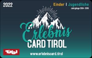 Die ErlebnisCard Tirol 2022 für Kinder/Jugendliche.